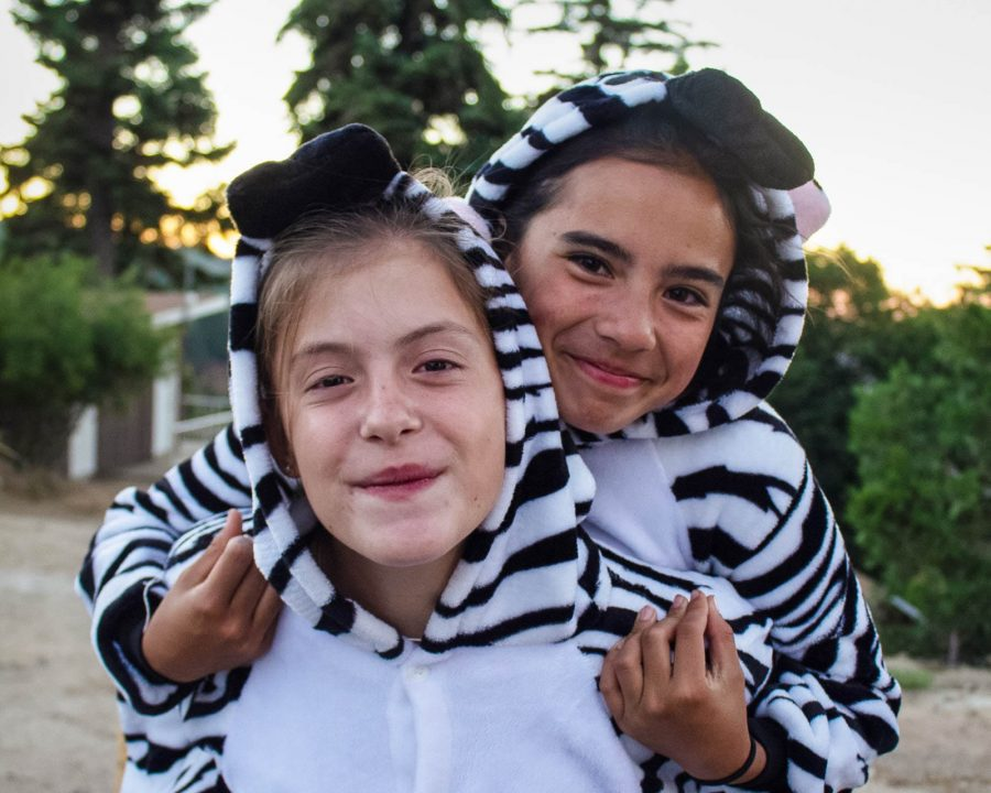 Two young girls wearing zebra onesies
