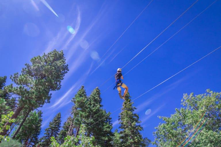 a boy on a zipline