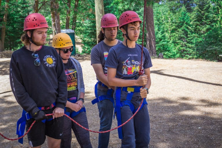 boys on harness at camp