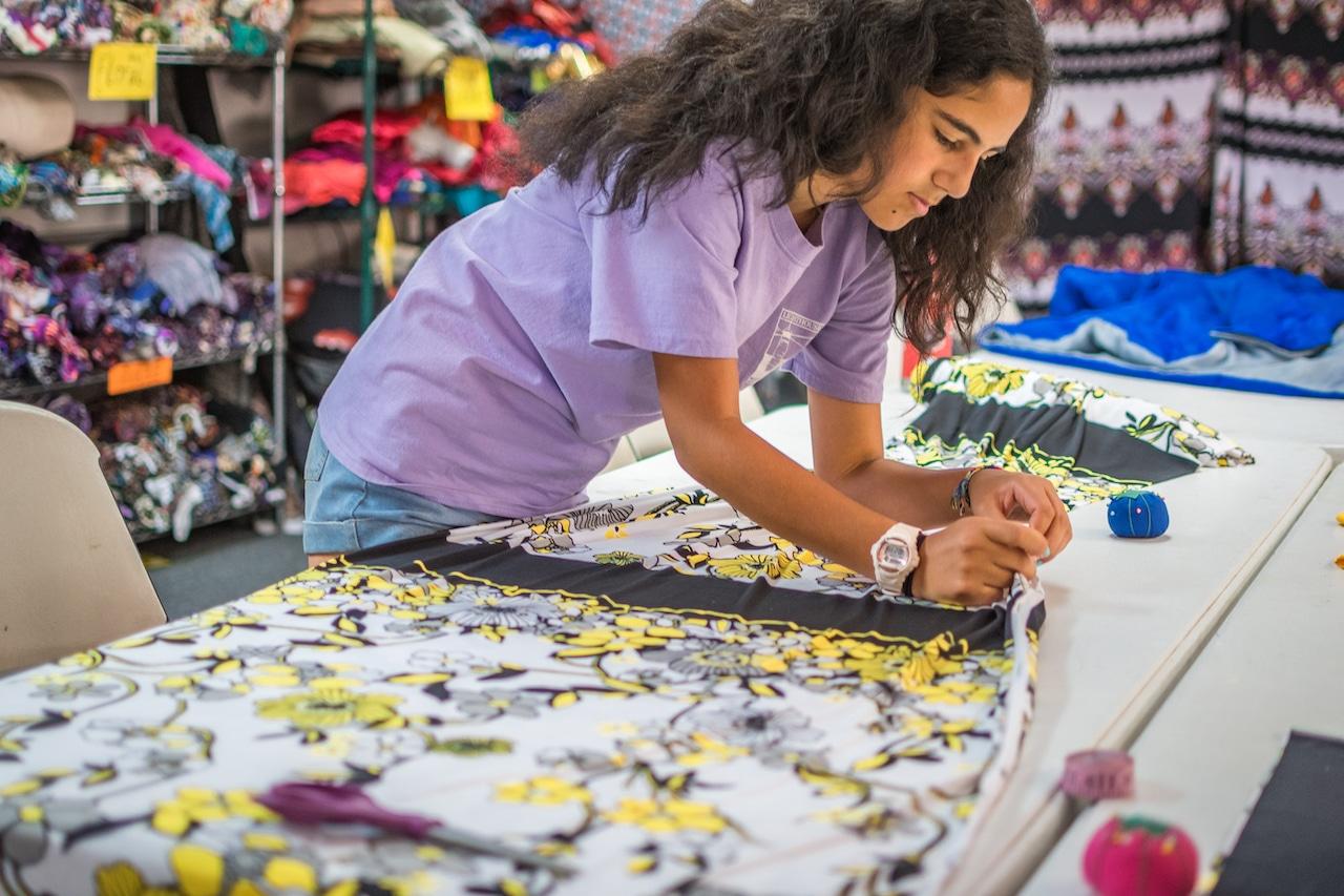 girl designing dress