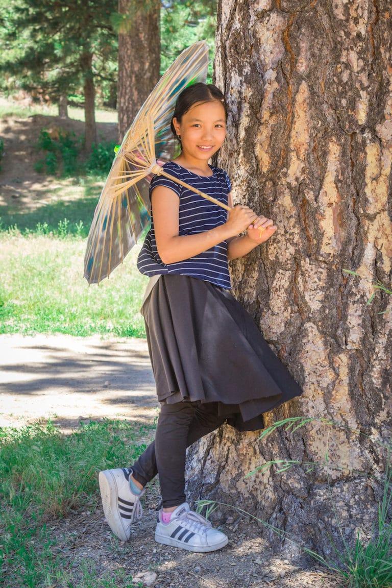 girl with sun umbrella